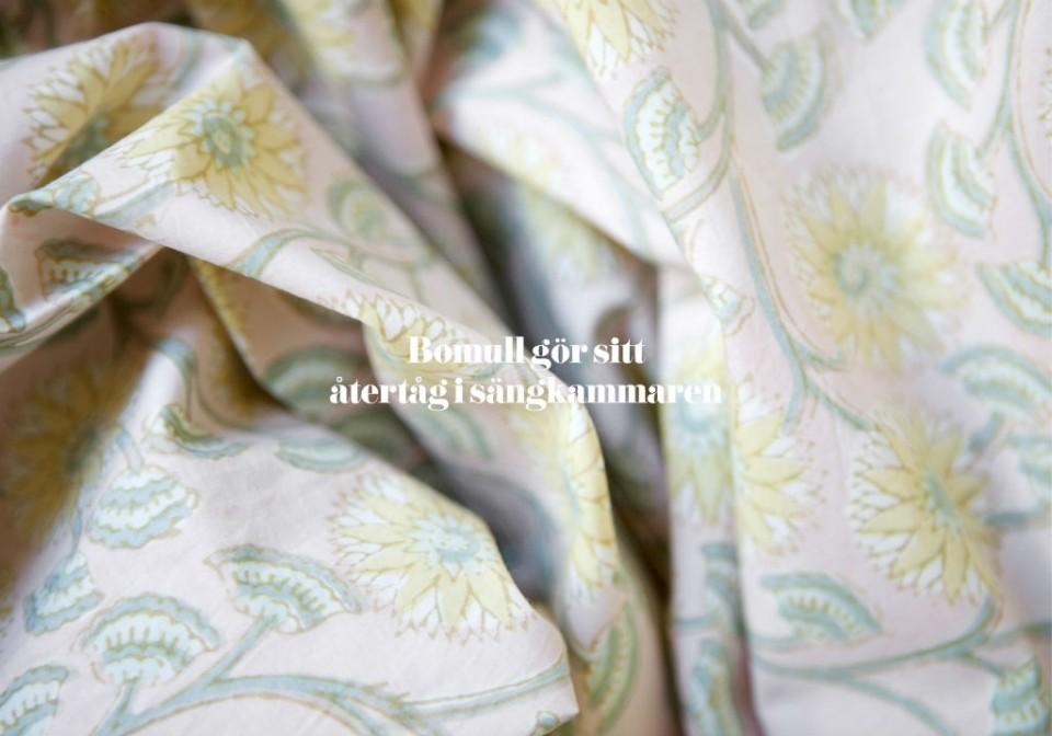 Bomull, ekologisk bomull, greenheart.nu, mönster, handtryck, blocktryck, Reva Home, sänglinne, organiskt, mönstrat